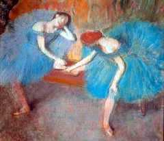 Two Dancers in Blue, by Edgar Degas