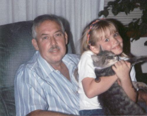 my father, myself, and me dear departed cat Max